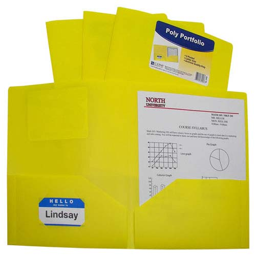 C-Line Yellow Two-Pocket Heavyweight Poly Portfolio 25pk (CLI-33956) Image 1