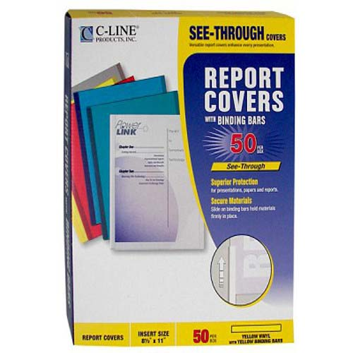 C-Line Yellow Vinyl Report Covers with Yellow Binding Bars 50pk (CLI-32556) Image 1
