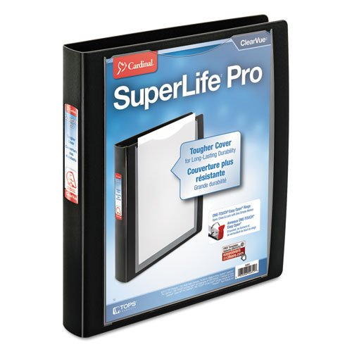"Cardinal 1"" Black SuperLife Pro EasyOpen ClearVue Locking Slant-D Ring Binder 12pk (CRD-54651) Image 1"