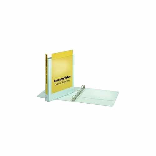 "Cardinal 1"" White EconomyValue ClearVue Round Ring Binder 12pk (CRD-90021) Image 1"
