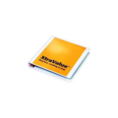 "Cardinal 1"" White XtraValue ClearVue Locking Slant-D Binder 12pk (CRD-19010) Image 1"