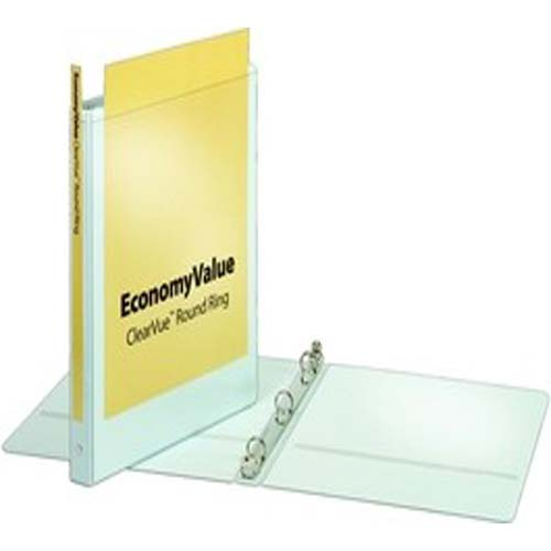 "Cardinal 5/8"" White EconomyValue ClearVue Round Ring Binder 12pk (CRD-90011)"