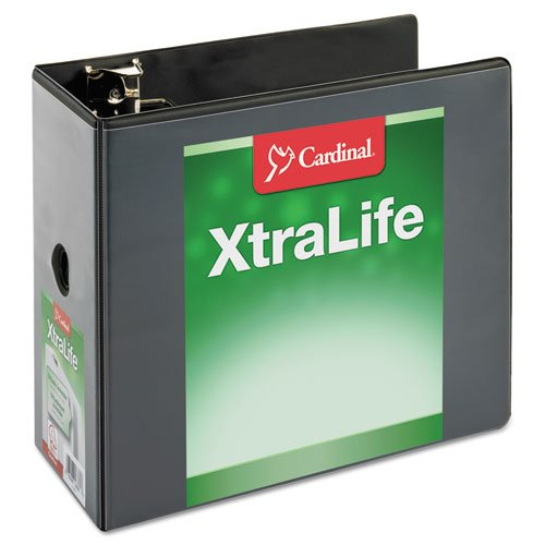 "Cardinal 6"" Black XtraLife ClearVue Non-Stick Locking Slant-D Ring Binder 2pk (CRD-26361) Image 1"