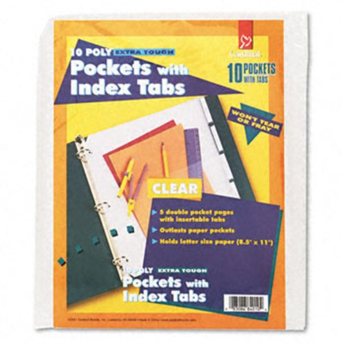 Cardinal Clear Poly Ring Binder Double Pockets with 5 Tabs 24pk - CB (CRD-84010) Image 1