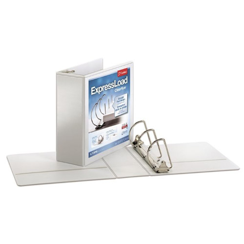 "Cardinal ExpressLoad 4"" White ClearVue Locking D-Ring Binders 6pk (CRD-49140) Image 1"
