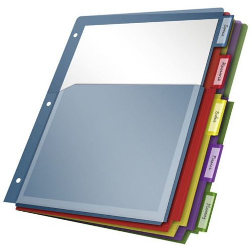 Multi Color Tab Poly Expanding Pocket Divider Image 1