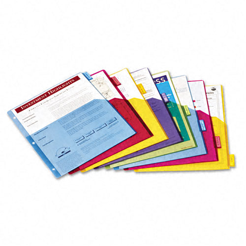 Cardinal Multi-Color Poly 8 Tab Single Pocket Divider 4pk - CB (CRD-84017) Image 1