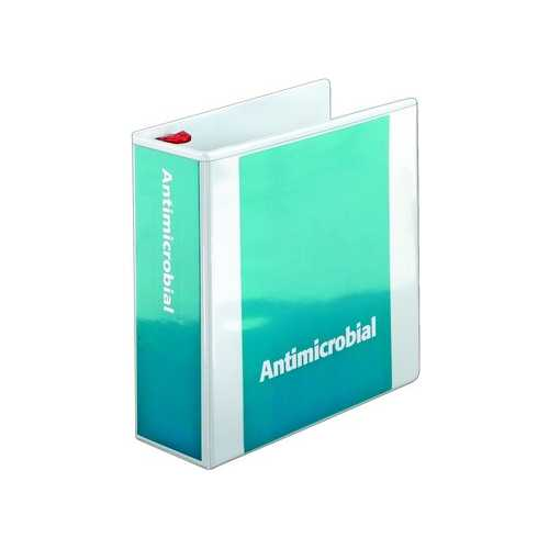 Cardinal White Antimicrobial ClearVue Locking Slant-D Binder (CRD-ACVLSDBWH) Image 1