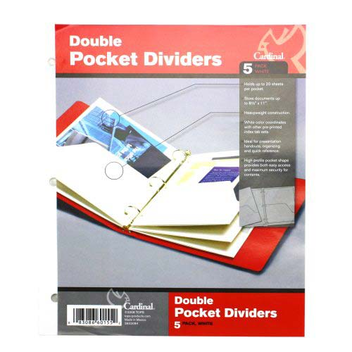 Cardinal White Double Pocket Dividers 24pk (CRD-60155) Image 1