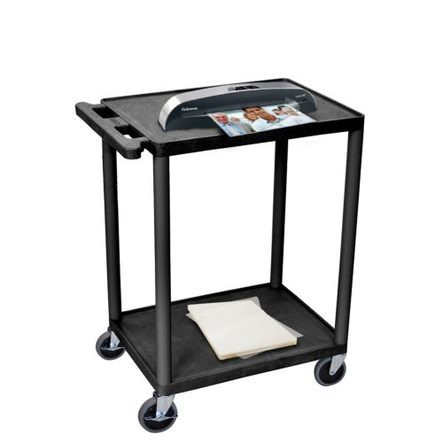 "24"" Black Plastic 2-Shelf Laminating Workstation (MYHE32B)"