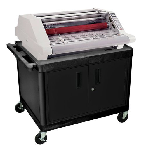 "32"" Black Plastic 2-Shelf Laminating Workstation with Steel Cabinet (LWLE27CB) Image 1"