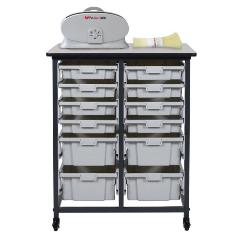 "30.75"" Binding Workstation with 4 Large and 8 Small Storage Bins (Double Row) (BWMBSDR8S4L) Image 1"