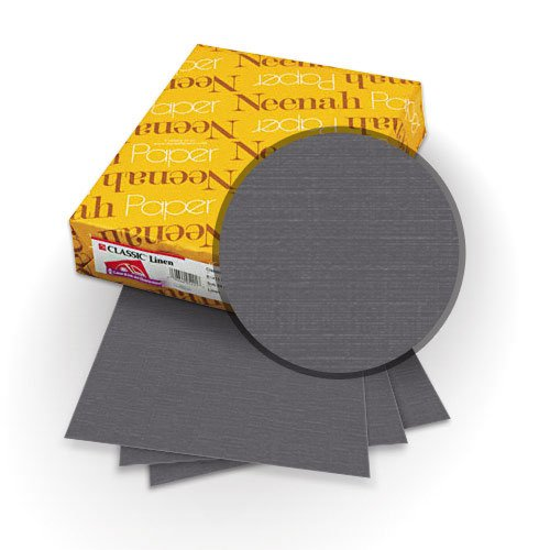 "Neenah Paper Classic Linen Charcoal 9"" x 11"" 80lb Covers with Windows - 25 Sets (MYCLINCHW9X11) Image 1"