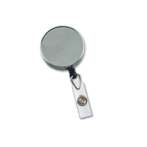 Chrome Metal Badge Reel with Nylon Cord - 25pk (MYID505HDCRM) Image 1