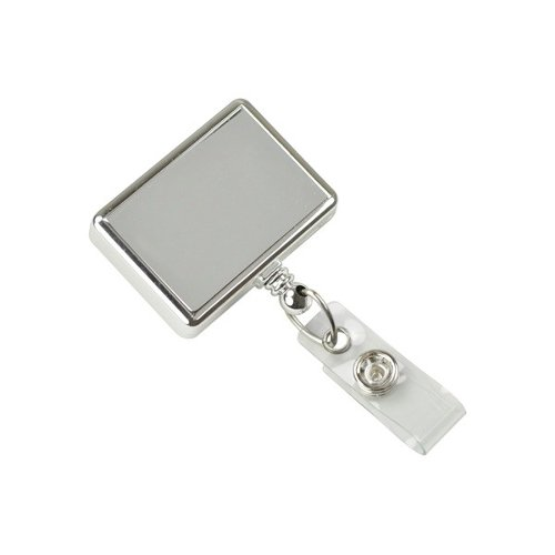Chrome Rectangle Badge Reel With Swivel Clip and Clear Vinyl Strap - 25pk (2120-3900), Id Supplies Image 1