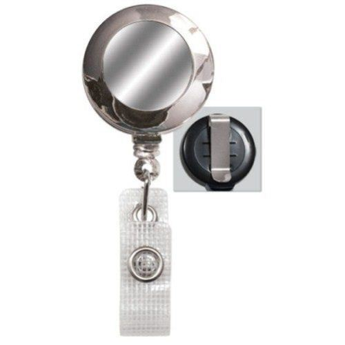 Chrome Reinforced Badge Reel w Silver Sticker and Belt Clip - 25pk (2120-3100) Image 1