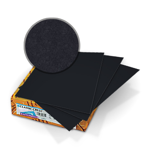 "Neenah Paper Classic Crest Epic Black 9"" x 11"" 80lb Covers With Windows - 50 Sets (MYCCC9X11EBK320W) Image 1"