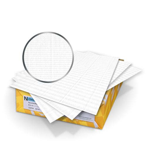 "Neenah Paper Classic Laid Recycled 100 Bright White 8.75"" x 11.25"" 80lb Covers With Windows - 50 Sets (MYCLC8.75X11.25R1BW248W) Image 1"