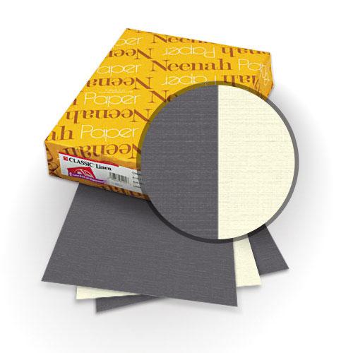 "Neenah Paper Classic Linen Charcoal - Classic Natural White 9"" x 11"" 120lb Duplex Covers - 25pk (MYCLIN9X11CHCNW) Image 1"