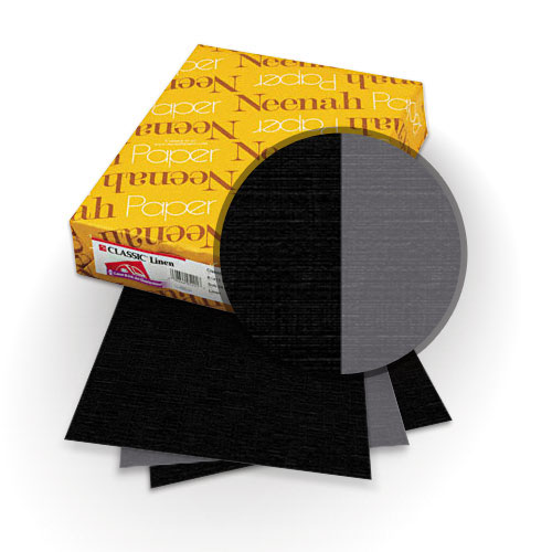 "Neenah Paper Classic Linen Epic Black - Charcoal 9"" x 11"" 120lb Duplex Covers with Windows - 25 Sets (MYCLIN9X11EBCHW)"