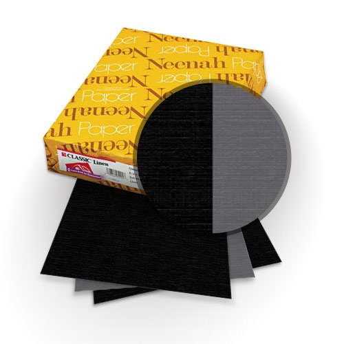 "Neenah Paper Classic Linen Epic Black - Charcoal 9"" x 11"" 120lb Duplex Covers with Windows - 25 Sets (MYCLIN9X11EBCHW) Image 1"