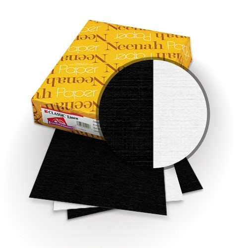 "Neenah Paper Classic Linen Epic Black - Recycled 100 Bright White 8.5"" x 11"" 120lb Duplex Covers with Windows - 25 Sets (MYCLIN8.5X11EBR1BWW) Image 1"