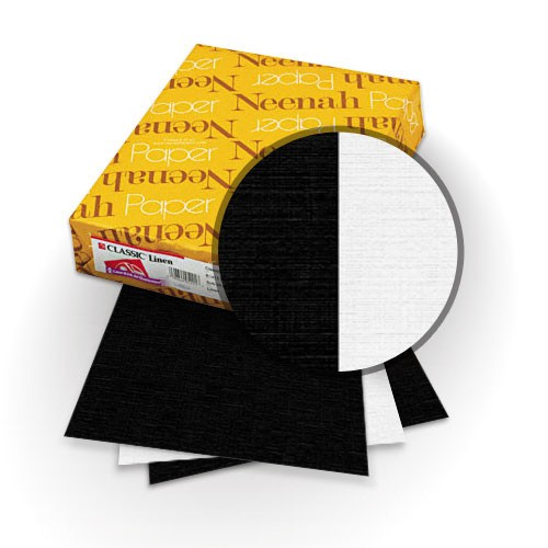 "Neenah Paper Classic Linen Epic Black - Recycled 100 Bright White 9"" x 11"" 120lb Duplex Covers with Windows - 25 Sets (MYCLIN9X11EBR1BWW) Image 1"