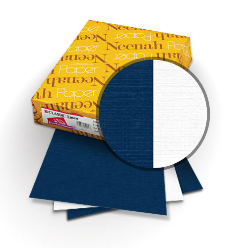 "Neenah Paper Classic Linen Patriot Blue - Avon Brilliant White 8.5"" x 11"" 120lb Duplex with Windows - 25 Sets (MYCLIN8.5X11PBABWW) Image 1"