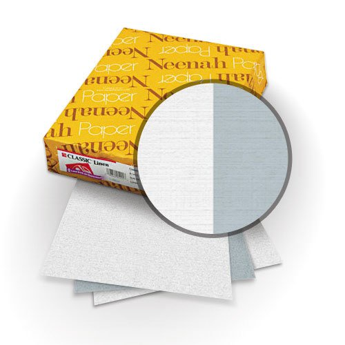 "Neenah Paper Classic Linen Whitestone - Graystone 8.5"" x 11"" 120lb Duplex Covers with Windows - 25 Sets (MYCLIN8.5X11WSGSW) Image 1"