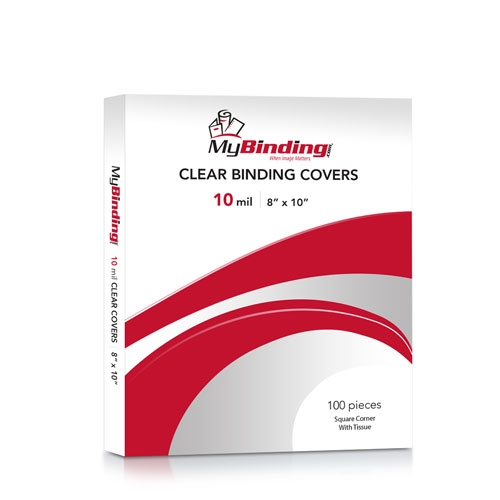 """10mil Crystal Clear 8"""" x 10"""" Binding Covers - 100pk (TC108X10S) - $44.28 Image 1"""