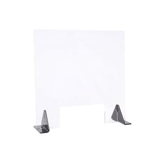 "23.5"" x 23.5"" Clear Acrylic Safety Barrier / Sneeze Guard for Tabletop (97PPES24X24) Image 1"
