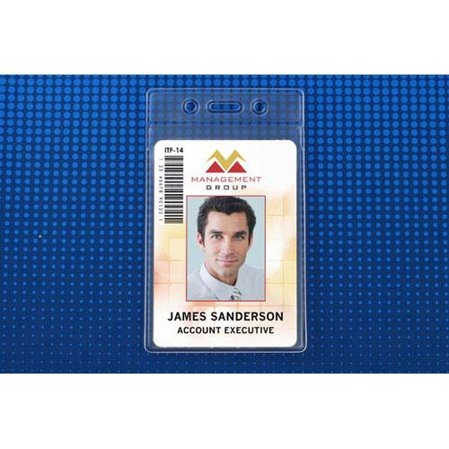 "Clear Soft Horizontal Badge Holder w/ Fold-Over Flap (2-5/8""x3-45/64"") - 100pk (MYBP50635FS) Image 1"