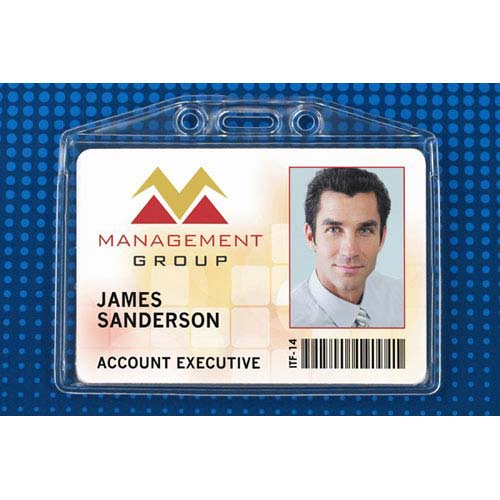 "Clear Soft Horizontal Badge Holder w/ Fold-Over Flap (3-7/8"" x 2-3/8"") - 100pk (MYBP50643FS) Image 1"