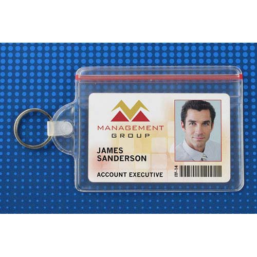 Clear Soft Horizontal Badge Holder w/ Zipper Closure and Key Ring - 100pk (MYBP506ZHKR) Image 1