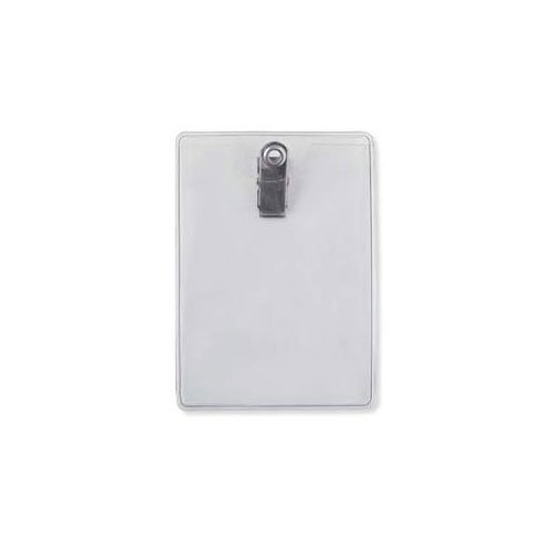 "Clear Vinyl Vertical Badge Holder Clip-On (2-3/4"" x 3-7/8"") - 100pk (MYBP504F) Image 1"