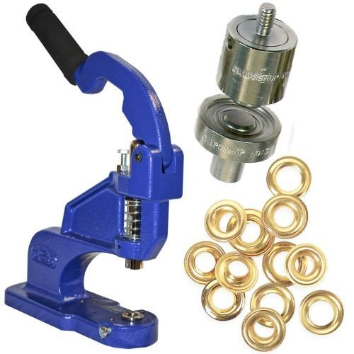 ClipsShop CSTEP-2 Grommet Press Kit with #3 Self-Piercing Die and 500 Brass Grommets (GROMCSTP2K3-BR) Image 1
