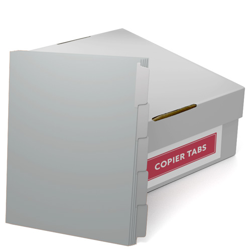 90lb Gray Mylar Coated Copier Tabs - 1 Carton (XT-GRAYXXX) Image 1