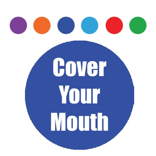 "Flipside ""Cover Your Mouth"" 11"" Round Non-Slip Floor Stickers - 5pk (FS-11RNSFS-CYM), Flipside brand Image 1"