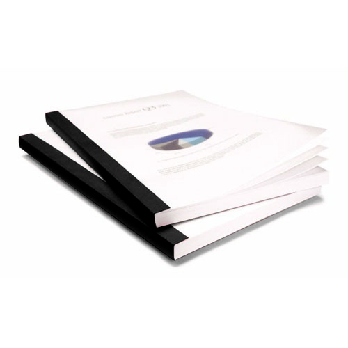 "Coverbind 1/4"" Black Clear Linen Thermal Covers 80pk - 575302 (08CB14BLACK) Image 1"