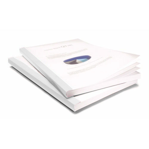 "Coverbind 1/4"" White Eco Clear Linen Thermal Covers - 80pk (08CBE14WHITE), Binding Covers Image 1"