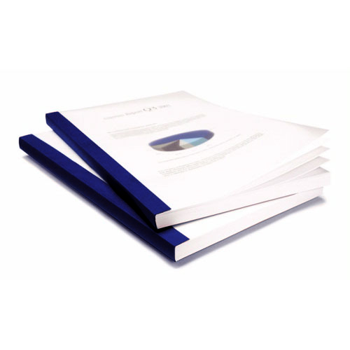 "Coverbind 1/8"" Navy Clear Linen Thermal Covers 90pk - 575201 (08CB18NAVY) Image 1"