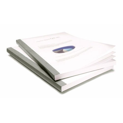 "Coverbind 1"" Grey Clear Linen Thermal Covers 40pk - 575907 (08CB100GRAY) Image 1"