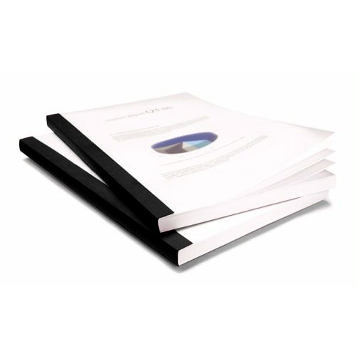 "Coverbind 3/4"" Black Clear Linen Thermal Covers 50pk - 575306 (08CB34BLACK) Image 1"