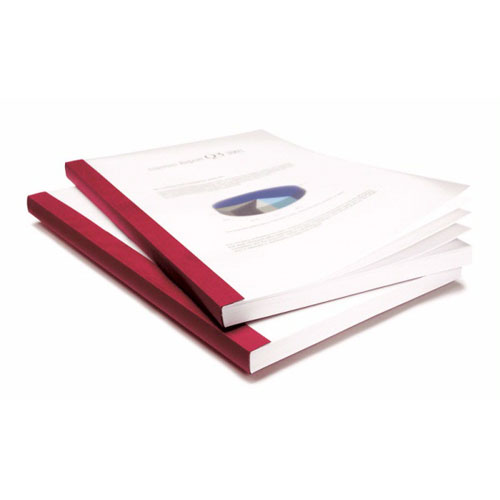 "Coverbind 3/4"" Burgundy Eco Clear Linen Thermal Covers - 50pk (08CBE34BURG), Binding Covers Image 1"