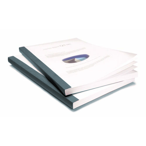 "Coverbind 3/4"" Graphite Clear Linen Thermal Covers 50pk - 575106 (08CB34GRT) Image 1"