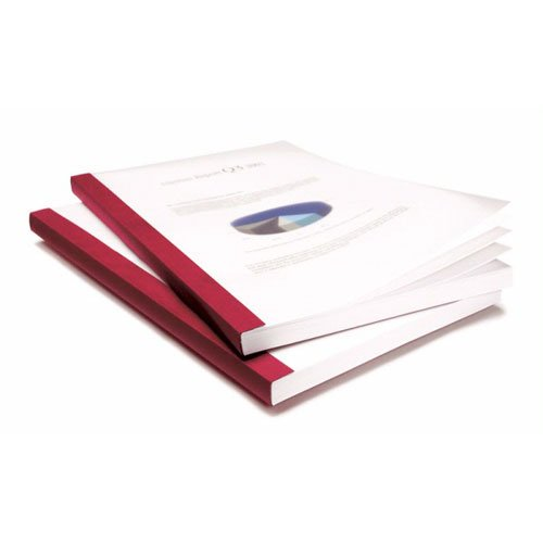"Coverbind 3/8"" Burgundy Eco Clear Linen Thermal Covers - 70pk (08CBE38BURG), Binding Covers Image 1"