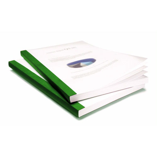 "Coverbind 3/8"" Green Eco Clear Linen Thermal Covers - 70pk (08CBE38GRN), Binding Covers Image 1"