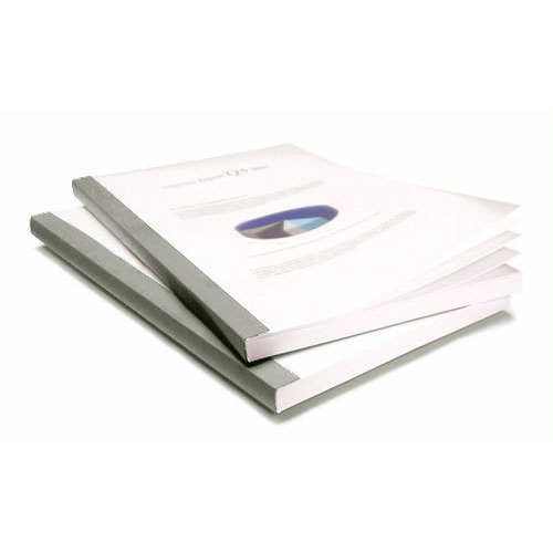 "Coverbind 3/8"" Grey Clear Linen Thermal Covers 70pk - 575903 (08CB38GRAY) Image 1"