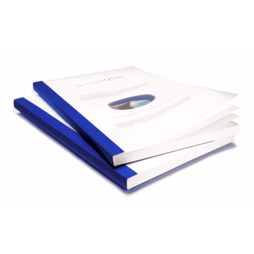 "Coverbind 3/8"" Royal Blue Eco Clear Linen Thermal Covers - 70pk (08CBE38RBLUE) Image 1"
