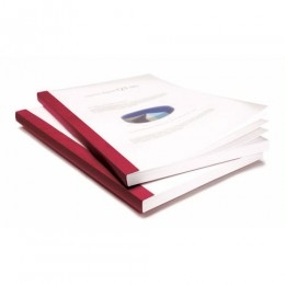 "Coverbind 1-1/4"" Red Clear Linen Thermal Covers - 30pk (08CB114RED) Image 1"